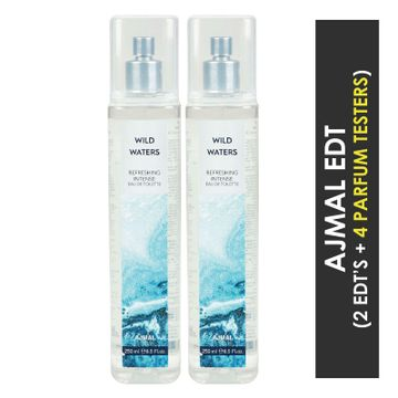 Ajmal | Ajmal Wild Waters EDT  pack of 2 each 250ml (Total 500ML) for Unisex + 4 Parfum Testers