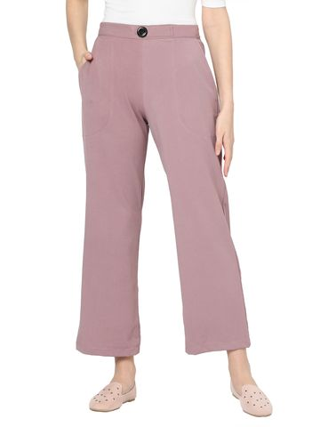 Smarty Pants   Smarty pants women's cotton stretchable lilac color ankle length flared trouser