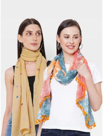 Get Wrapped | Get Wrapped Tie-Dye & a Embroidered Scarves Combo for Women - Combo Pack of 2