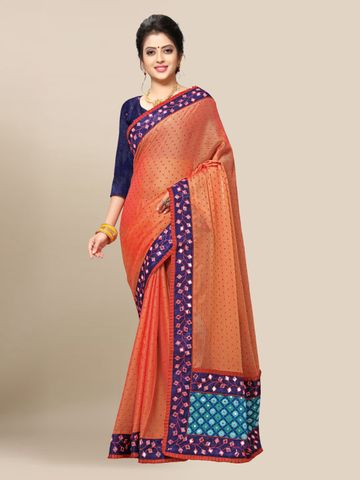 SATIMA | Women's Orange Embroidery Georgette Saree