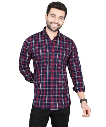5th Anfold   Fifth Anfold Pure Cotton multicolor Checkered Full Sleev Spread Collar Mens Casual shirt