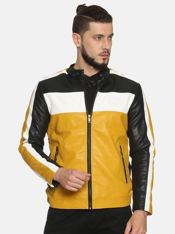 Showoff | Men Black&Yellow Casual Solid Leather jacket