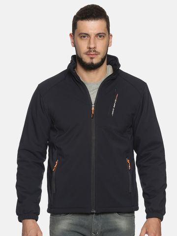 Showoff | Men Navy Solid Sporty Jacket with Detachable Hood