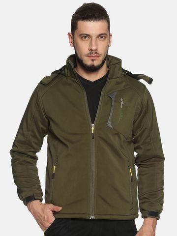 Showoff | Men olive Solid Sporty Jacket with Detachable Hood