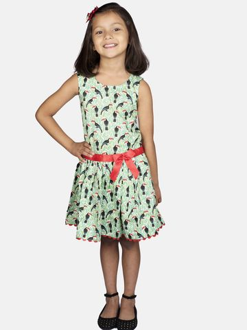 Ribbon Candy | RIBBON CANDY Girl's Toucan Print- Low Waist Fit and Flare Dress
