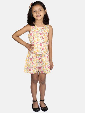 Ribbon Candy | RIBBON CANDY Girl's Orange Print -Jumpsuit