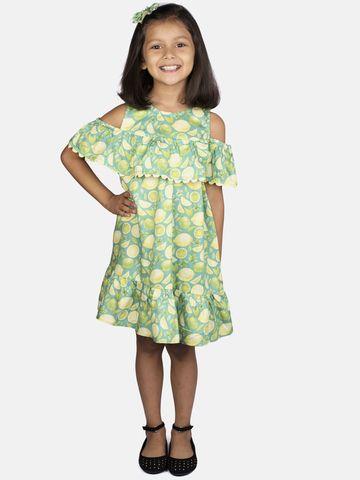 Ribbon Candy | RIBBON CANDY Girl's Lemon Print- Cold Shoulder With Frill Dress