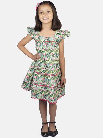 Ribbon Candy | RIBBON CANDY Girl's Flamingo Print-  High Chest Gatrhered Dress