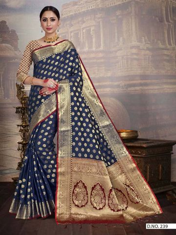 POONAM TEXTILE | TRADITIONAL BANARASI NAVY BLUE ART SILK WOVEN ZARI FESTIVE SAREE