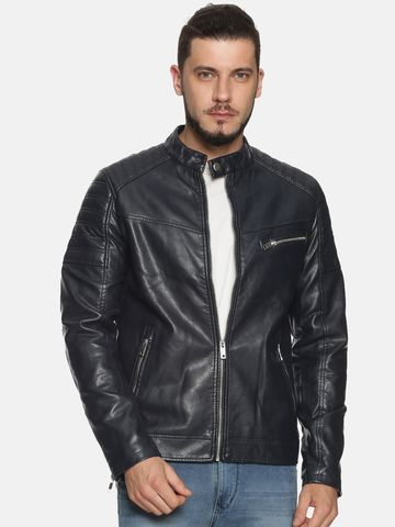 Showoff | Men Navy Casual Solid Leather jacket