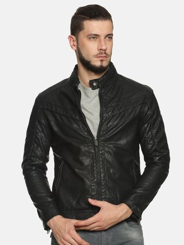 Showoff | Men Black Casual Solid Leather jacket