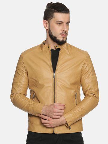 Showoff   Men Beige Casual Solid Leather jacket