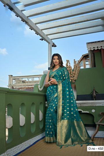 POONAM TEXTILE | Fashion Banaras Teal Organza Silk Hand Dyed Zari Festive Saree