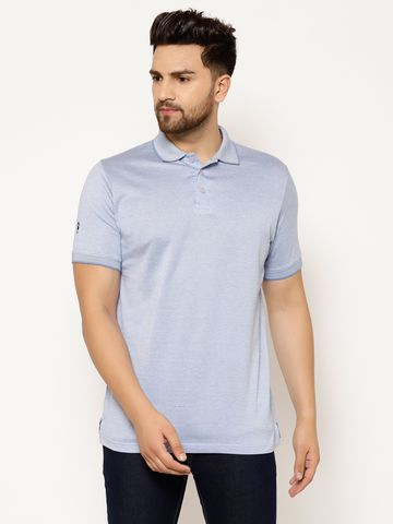 Eppe | EPPE Men's Polo Neck Light Blue Cotton Half Sleeves Casual T-Shirt