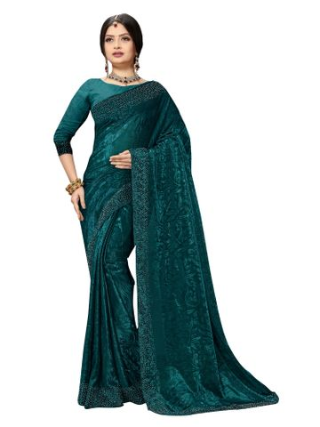SATIMA | Fancy Ethnic Wear Turquoise Brasso Saree