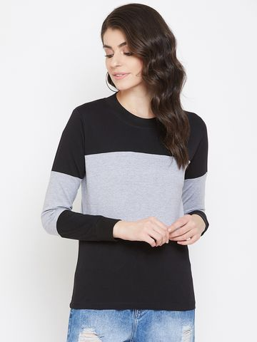 Jhankhi | Black and Grey Colorblock Full Sleeves T-Shirts