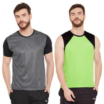 Masch Sports | Masch Sports Mens Polyester Printed & Colourblocked T-Shirts -Pack of 2 (Lime Green,Black & Black)