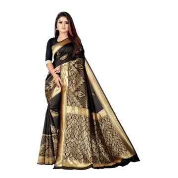 POONAM TEXTILE | Banarasi Jacquard Silk Blend Black Woven Zari Saree