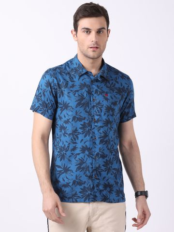 The Bear House   Blue Camp-Collar Printed Beach Shirt