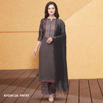SATIMA | Grey Silk Blend Dress Material