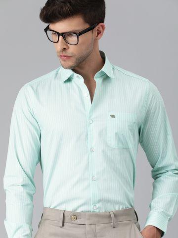 The Bear House | THE BEAR HOUSE Men Green  Slim Striped Luxury Giza Cotton Formal Shirt