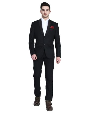 TAHVO | Black Tuxedo men suit with hanky