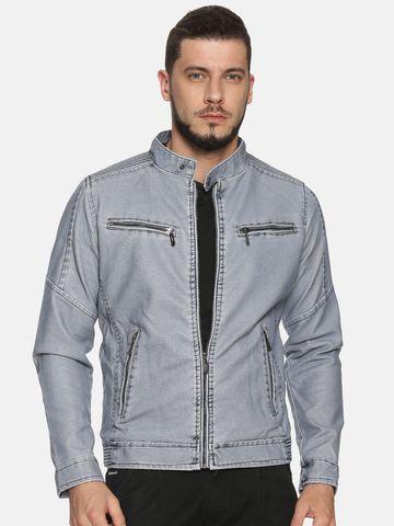Showoff | Men Blue Casual Solid Leather jacket