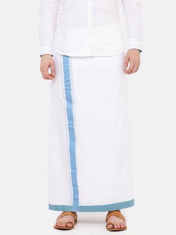 Ramraj Cotton | AADARSHA PLAIN WHITE  DHOTI BLUE BORDER