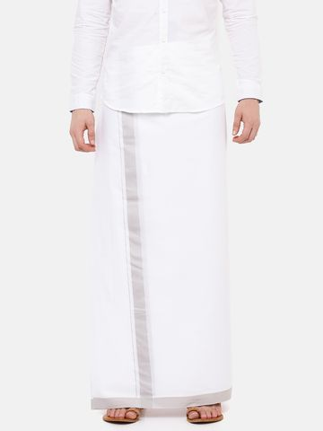 Ramraj Cotton | AADARSHA PLAIN WHITE  DHOTI LIGHT GREY BORDER