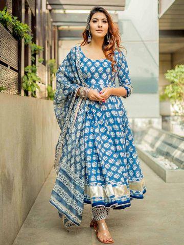 GAYRAA | Gayraa Women's rayon blue Gota patti kurta with dupatta and pant
