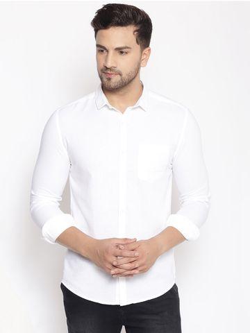 Showoff   SHOWOFF Men's  Cotton  White Solid Slim Fit Shirt