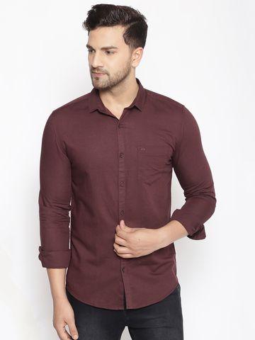 Showoff | SHOWOFF Men's  Cotton  Maroon Solid Slim Fit Shirt