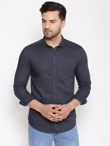 Showoff   SHOWOFF Men's  Cotton  Navy Solid Slim Fit Shirt