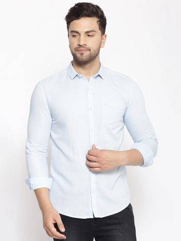 Showoff | SHOWOFF Men's  Cotton  Blue Solid Slim Fit Shirt