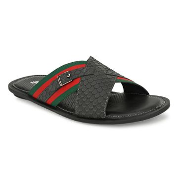 Hitz | Hitz Grey_Leather Criss-Cross Slippers for Men