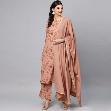GAYRAA | Printed straight brown kurta with dupatta and palazzo