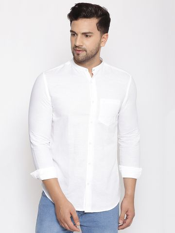Showoff | SHOWOFF Men's  Linen  White Plain Slim Fit Shirt