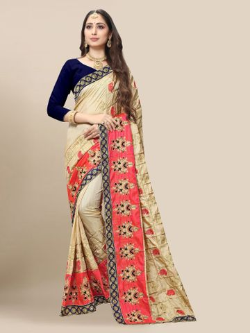SATIMA | Women's Embroidered Cream Silk Blend Pochampally Leheriya Saree