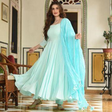 GAYRAA | Gayraa Women's rayon aqua blue Anarkali kurta with pant dupatta