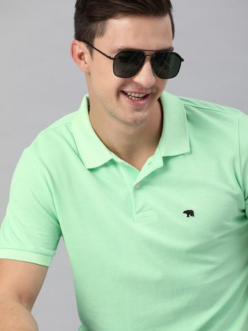 The Bear House   Mint Green Solid Polo T-Shirt