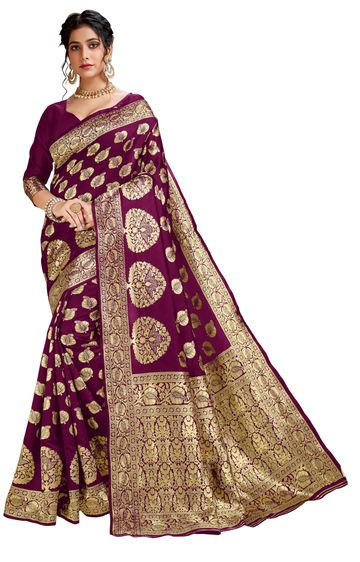Glemora | Glemora Wine Lichi Cotton Akriti Saree With Unstitched Blouse