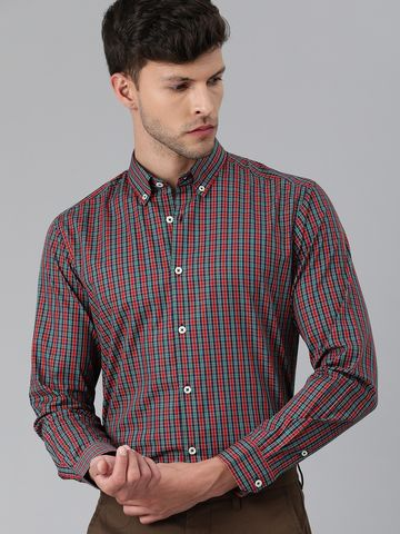 The Bear House | Men Red & Blue Slim Fit Checked Giza Cotton Formal Shirt