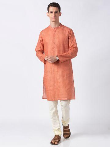 Ethnicity | Ethnicity Orange Polyester Blend Men Kurta