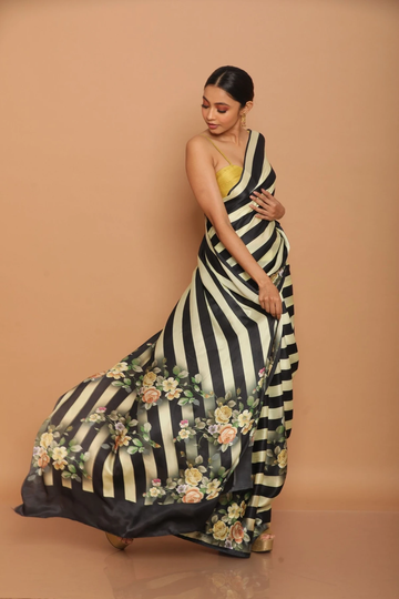 POONAM TEXTILE | WOMEN'S BLACK STRIPED FLORAL PRINT SATIN SAREES