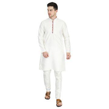 TAHVO   TAHVO men solid white kurta with churidar