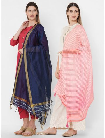 Get Wrapped   Get Wrapped Polyester Gold Border & a Textured Shaded Dupatta - Combo Pack of 2