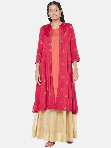 Ethnicity | Polyester Elbow Sleeve Straight Women Maroon Kurta