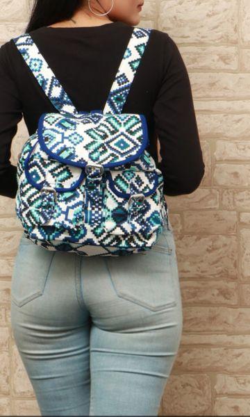 Vivinkaa   Vivinkaa Geometric Print Blue Backpack