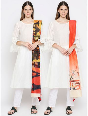Get Wrapped   Get Wrapped Multicolour Digital Dupatta with Fancy Tassels for Women - Combo Pack of 2