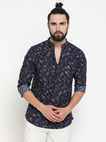 Showoff | Black Showoff Men's Cotton Printed Slim Casual Kurtas